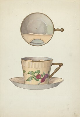 Mustache Cup and Saucer