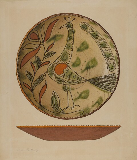 Set of 2 Folk Art Country Scene Ceramic Display Plates