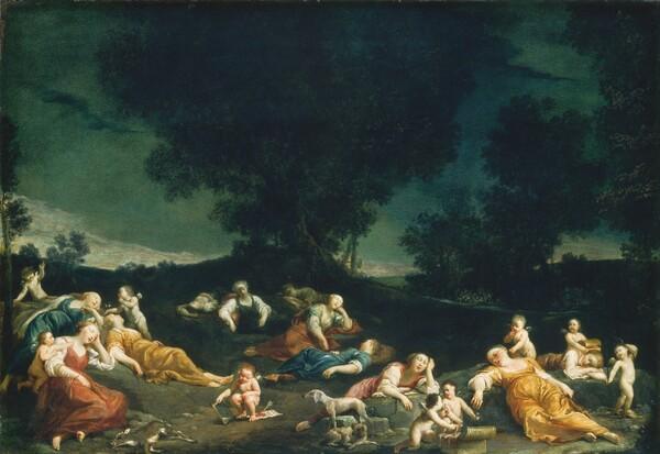 Cupids Disarming Sleeping Nymphs