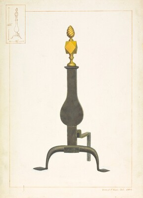 Cast Iron and Brass Andiron