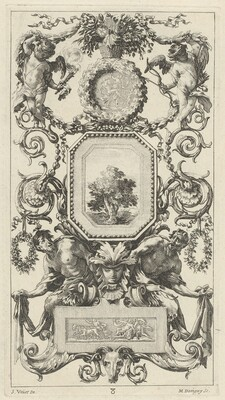 Ornamental Panel Surmounted by a Basket of Flowers with Cupid and Hymen