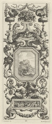 Ornamental Panel Surmounted by a Basket of Flowers and a Garland