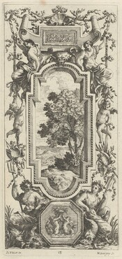 Ornamental Panel Surmounted by a Maritime Scene and a Shell