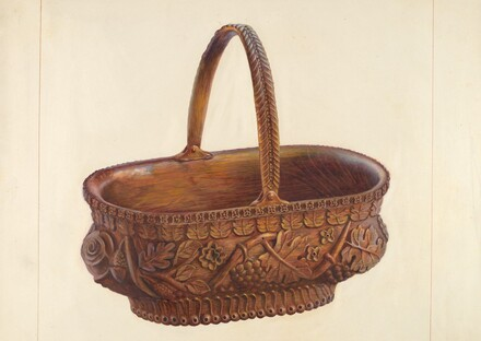 Carved Wooden Basket