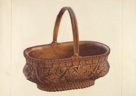 Carved Wooden Basket