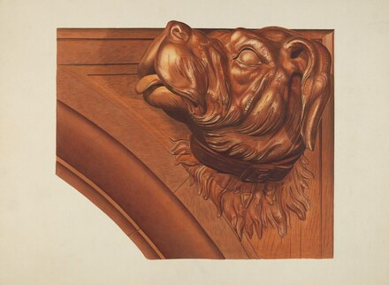 Mantle Carving (Dog's Head)