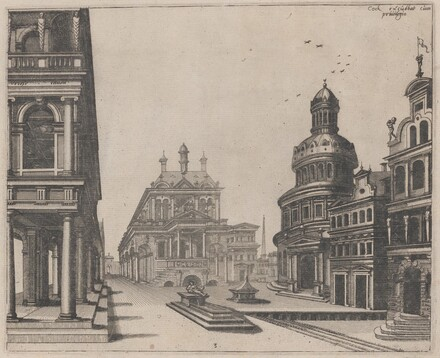 Corner of a Palace with Colonnade and Circular Building