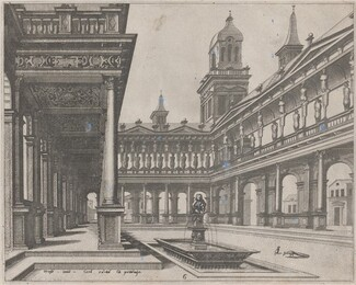 Palace Courtyard with Fountain in a Rectangular Basin