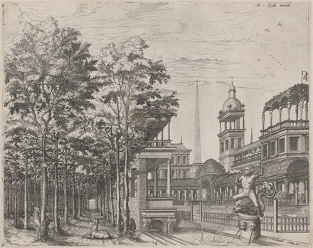 Landscape with Trees, Two Deer, and a Palace Courtyard
