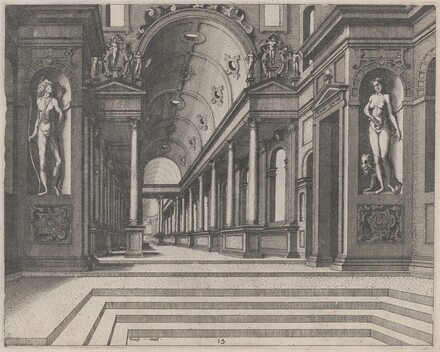 View in a Church with Corinthian Columns and Statues of Apollo, Melpomene, and Moses