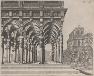 Loggia with Satyr Terms and a Garden