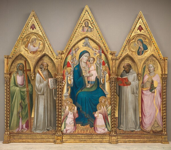 Madonna and Child with Saints Andrew, Benedict, Bernard, and Catherine of Alexandria with Angels [entire triptych]