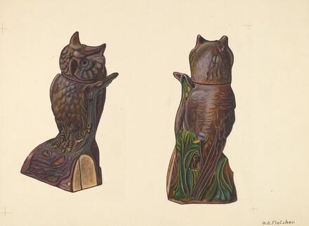 Owl on Log Bank