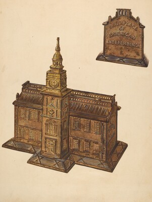 Cast Iron Toy Bank: Independence Hall
