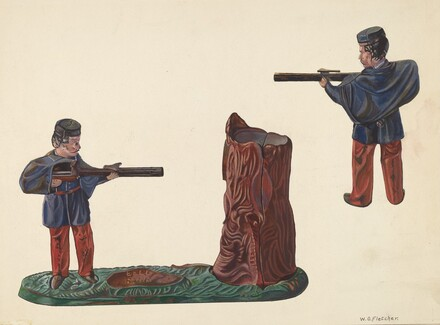 Civil War Soldier & Tree Trunk Bank