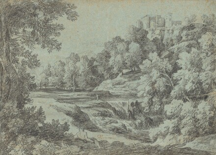 Italian Landscape with Fortifications and a Waterfall