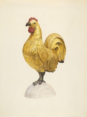 Gilded Wooden Rooster