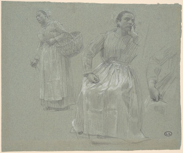 Study of Two Women, One Seated and One Holding a Basket