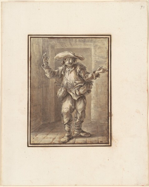 Caricature of a Peasant with a Broad Hat