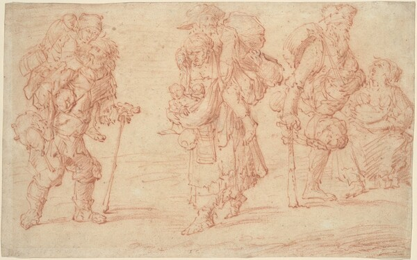 Three Pairs of Beggars with Babies