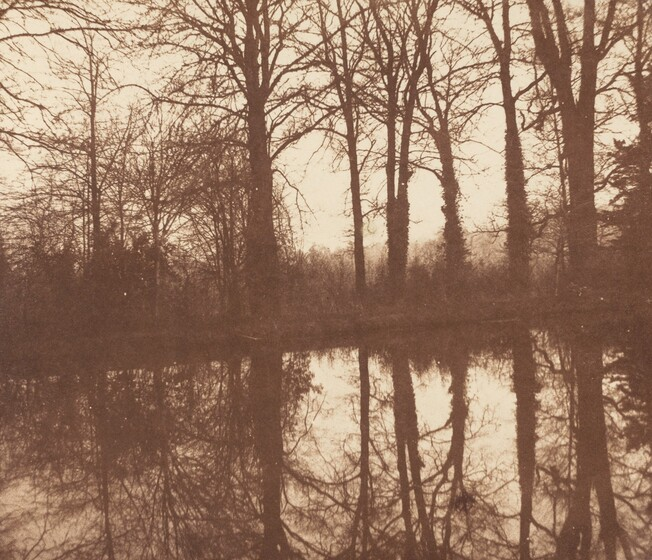 William Henry Fox Talbot, Winter Trees, Reflected in a Pond, 1841-1842