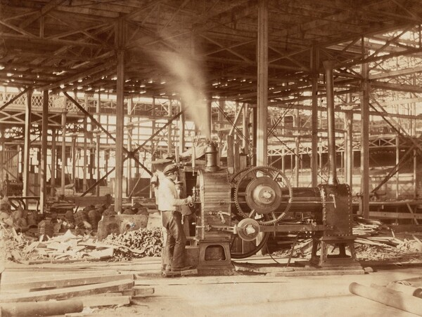 Steam Engine near the Grand Transept, Crystal Palace
