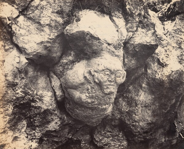 Gigantic Head Cut in the Solid Rock, Lately Discovered near Smyrna at the Entrance of a Cave