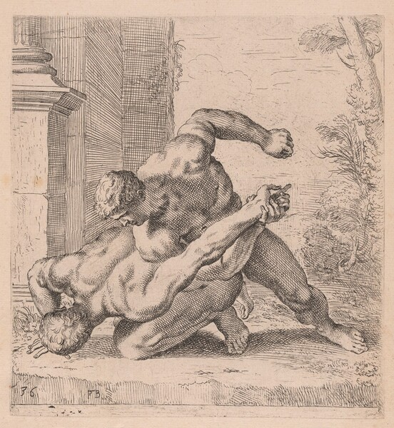 The Medici Wrestlers, side view, turned to left [plate 36]