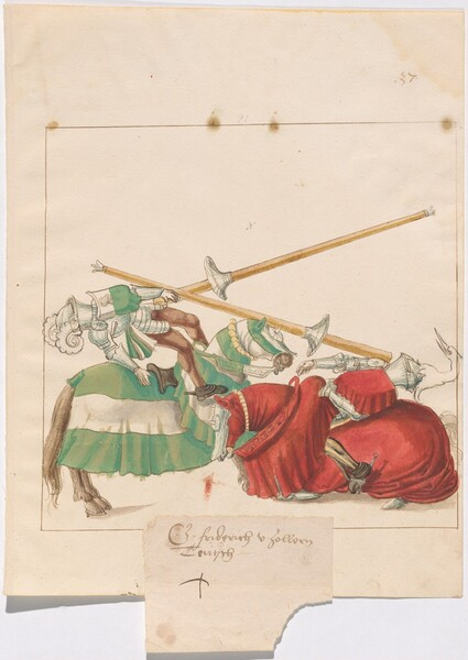 Freydal, The Book of Jousts and Tournaments of Emperor Maximilian I: Combats on Horseback (Jousts)(Volume I): Graf Friedrich von Zollern Plate 35