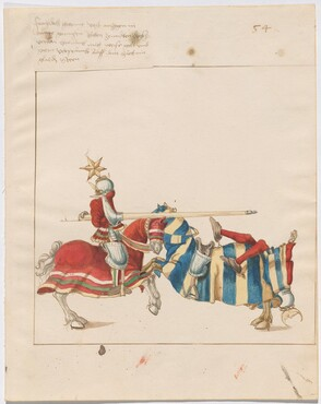 Freydal, The Book of Jousts and Tournaments of Emperor Maximilian I: Combats on Horseback (Jousts)(Volume I): Plate 51