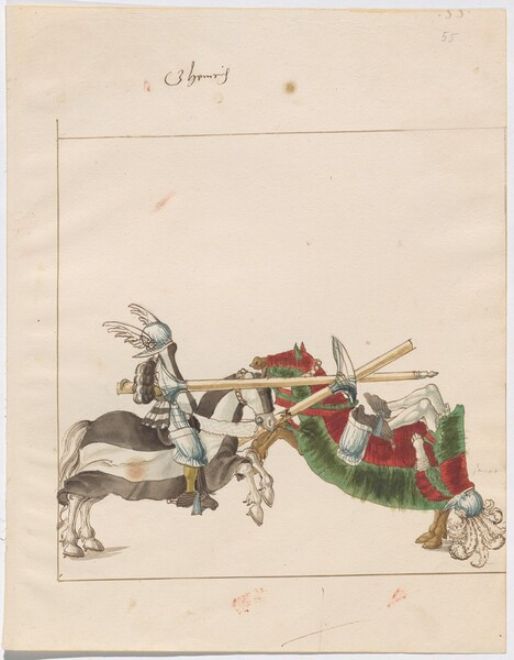 Freydal, The Book of Jousts and Tournaments of Emperor Maximilian I: Combats on Horseback (Jousts)(Volume I): G. Heinrich von Furstenberg Plate 52