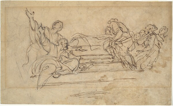 Figures on Steps (Studies for an Assumption of the Virgin)