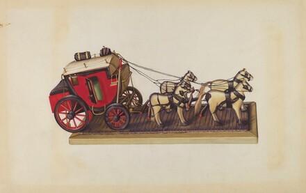 Wooden Model - Coach & Four Horses