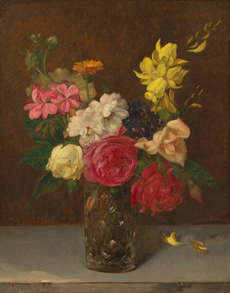 Flowers in a Cut Glass Vase