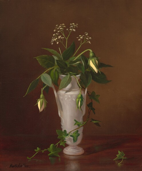Mysotis and Roses in a Vase
