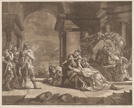 Le Jeune Astianax qu'Andromaque avoit caché dans le tombeau d'Hector est arraché des bras de sa Mere par les ordres d'Ulisse (Young Astianax, who Andromache Hid in Hector's Tomb, is Seized from his Mother's Arms by Ulysses' Orders)