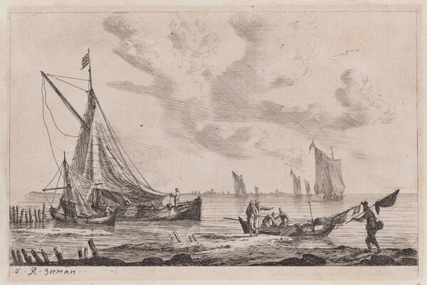 Shore of Inland Waterway with a Ketch, Two Smaller Boats, and Fisherman