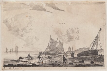 Beach Scene with Ketches and other Fishing Boats