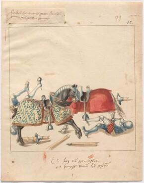 Freydal, The Book of Jousts and Tournament of Emperor Maximilian I: Combats on Horseback (Jousts)(Volume II): Graf Jörg von Montfort ein Kawpffenen bed gefallen, Plate 88