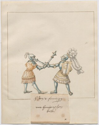 Freydal, The Book of Jousts and Tournament of Emperor Maximilian I: Combats on Foot (Jousts)(Volume III): H. Jörg v. Frundsberg mit hungerischen Kolben, Plate 121