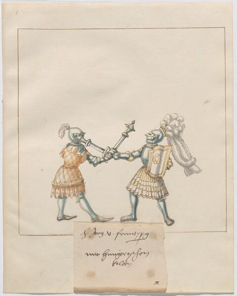 Freydal, The Book of Jousts and Tournament of Emperor Maximilian I: Combats on Foot (Jousts)(Volume III): H. Jörg v. Frundsberg mit hungerischen Kolben, Plate 121
