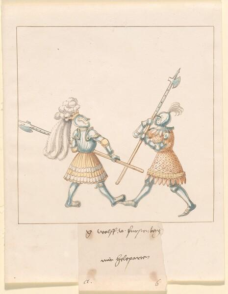 Freydal, The Book of Jousts and Tournament of Emperor Maximilian I: Combats on Foot (Jousts)(Volume III): G. Wolf von Fürstenberg mit Heleparten, Plate 141