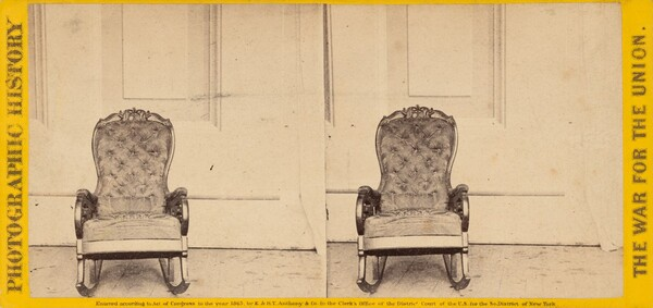 The Chair That President Lincoln Occupied at the Time of His Assassination at Ford's Theater