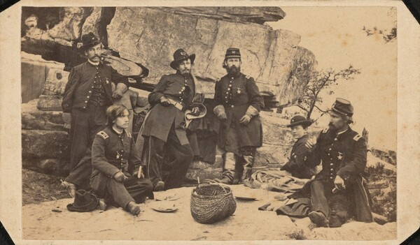 Part of General Geary's Staff. Taken on Lookout Mountain Summit on Christmas Day.
