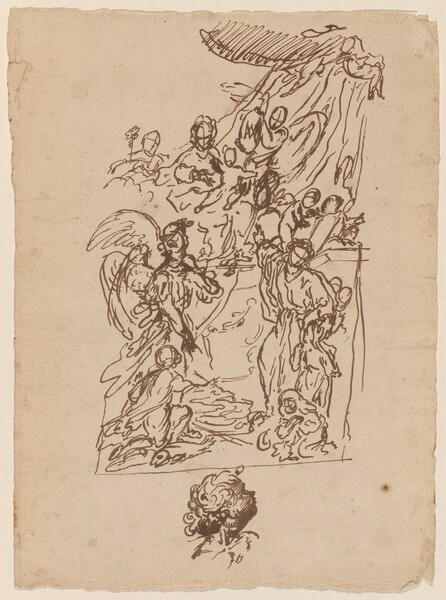 The Madonna and Child Seated on a Dais with Tobias and the Angel and a Saint Presenting Two Children