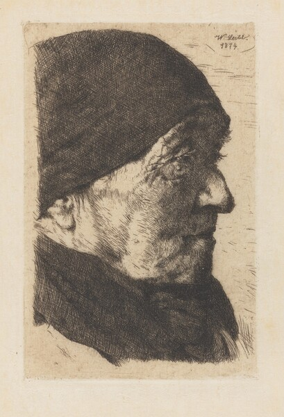 Portrait of an Old Peasant Woman, in Profile to the Right