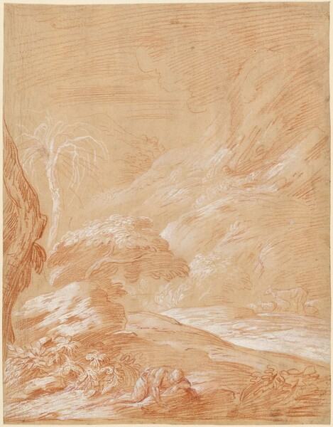 Fantastic Landscape with a Man Drinking from a Stream