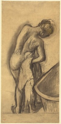 After the Bath: Woman Drying Herself