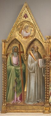 Saint Andrew and Saint Benedict with the Archangel Gabriel [left panel]