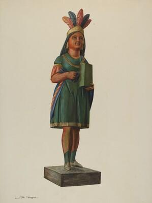 Wooden Pocahontas Store Figure